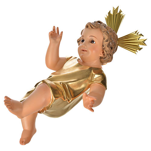 Gesù Bambino pasta legno veste dorata cm 35 dec. elegante 2