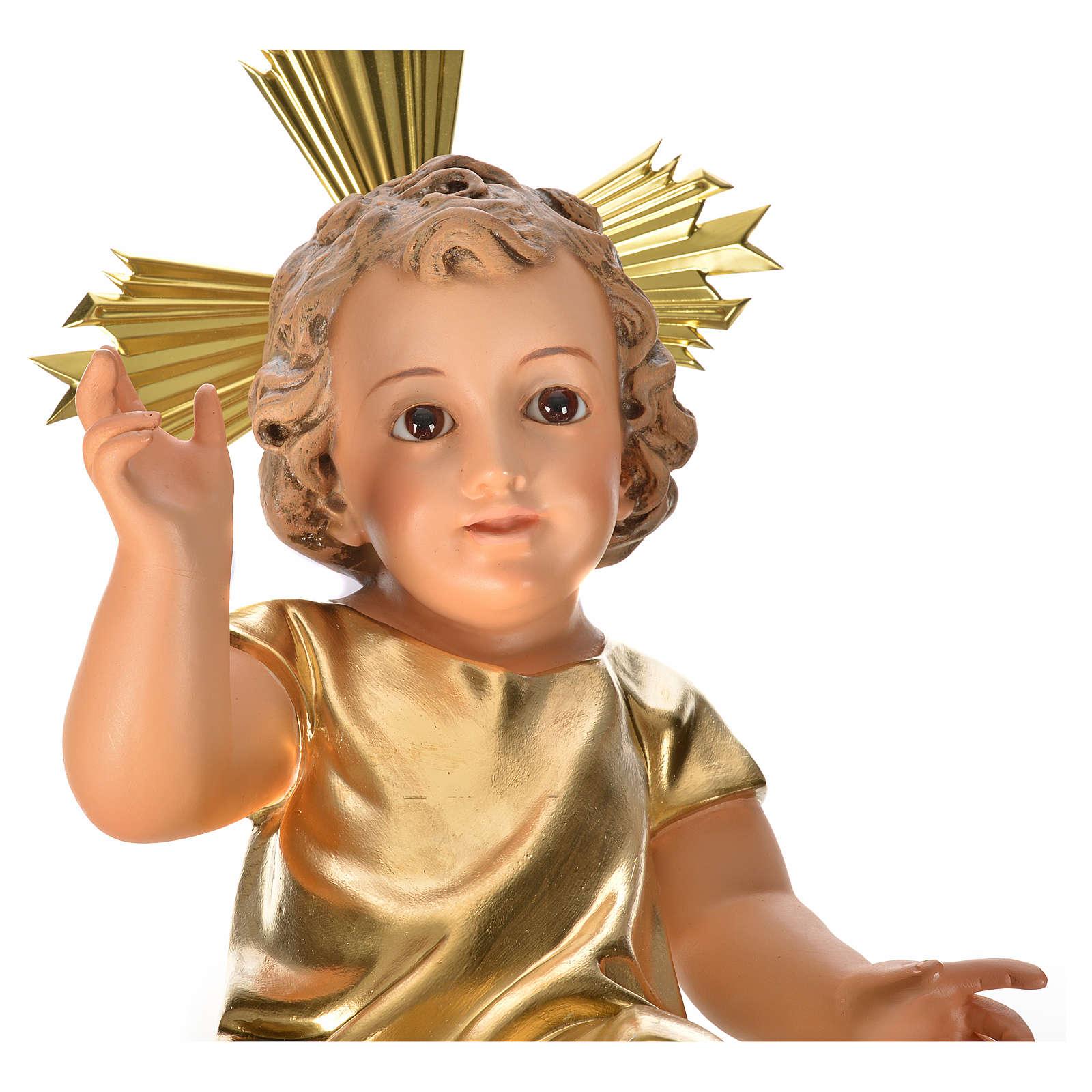 Dzieciątko Jezus ścier drzewny szaty złocone 35 cm d 3