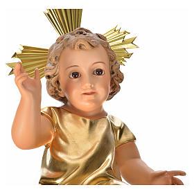 Menino Jesus pasta madeira túnica dourada 35 cm acab. elegante s7