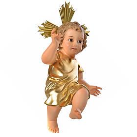 Menino Jesus pasta madeira túnica dourada 35 cm acab. elegante s1