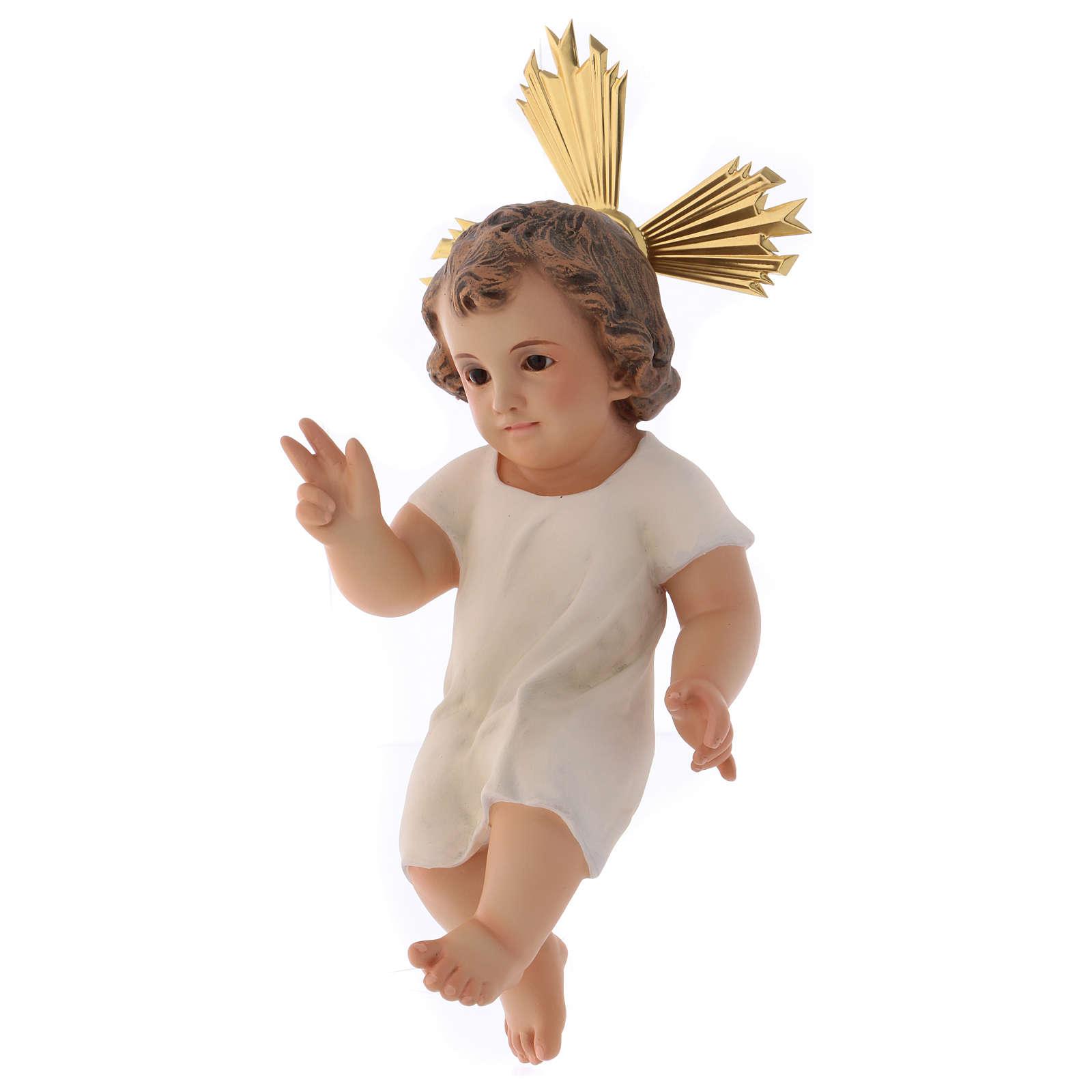 Baby Jesus in wood paste, 25 cm elegant finish 3