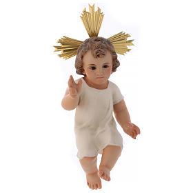 Baby Jesus in wood paste, 25 cm elegant finish s1