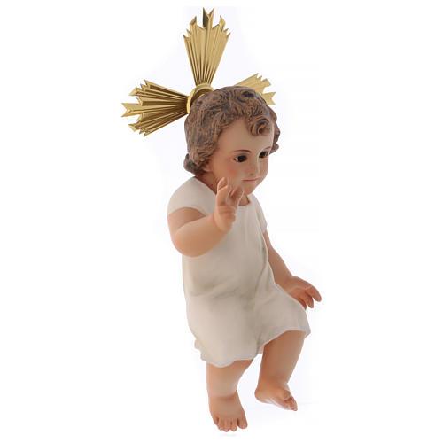 Baby Jesus in wood paste, 25 cm elegant finish 4