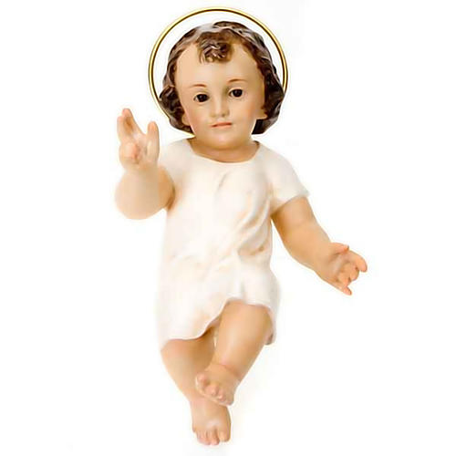 Niño Jesús vestido blanco bendecidor madera 25 cm 1