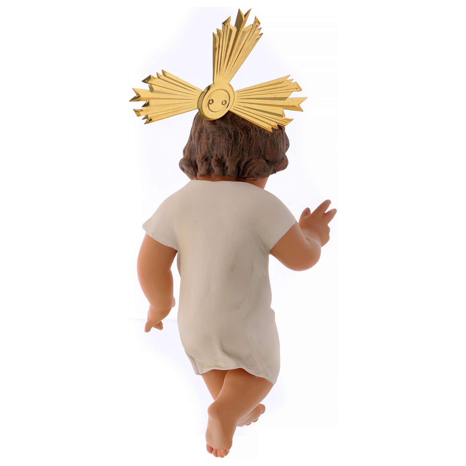 Gesù Bambino pasta legno benedicente cm 25 dec. elegante 3