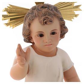 Gesù Bambino pasta legno benedicente cm 25 dec. elegante