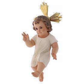 Gesù Bambino pasta legno benedicente cm 25 dec. elegante s3
