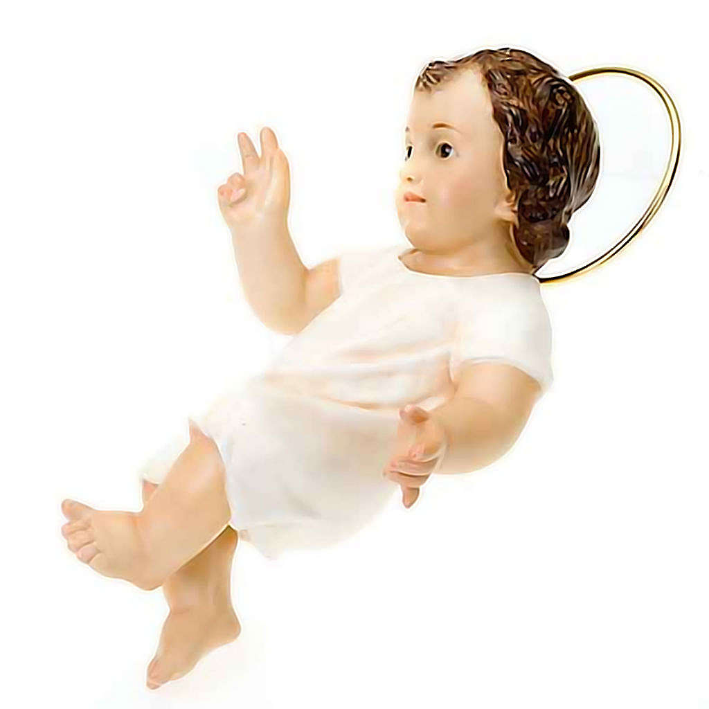Baby Jesus in wood paste, 25 cm elegant finish 3
