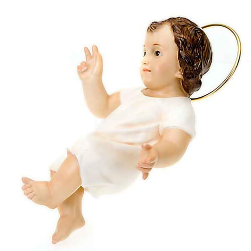 Baby Jesus in wood paste, 25 cm elegant finish 2