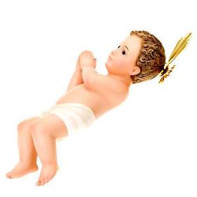Gesù Bambino pasta legno raggiera cm 30 dec. elegante s2