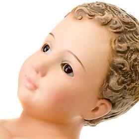 Gesù Bambino pasta legno raggiera cm 30 dec. elegante s3