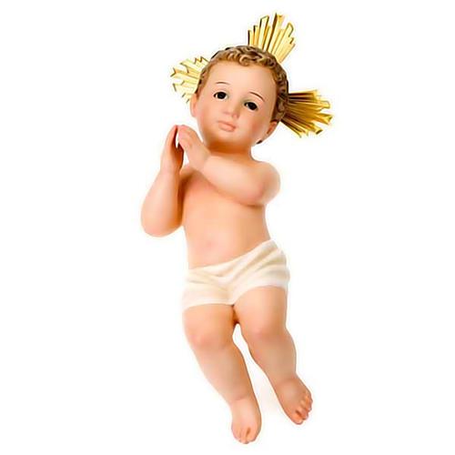 Gesù Bambino pasta legno raggiera cm 30 dec. elegante 1