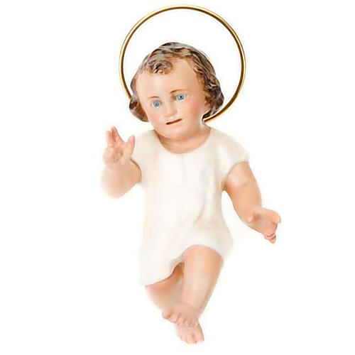 Baby Jesus in wood paste, 15 cm elegant finish 1
