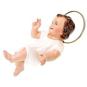 Baby Jesus in wood paste, 15 cm elegant finish s2