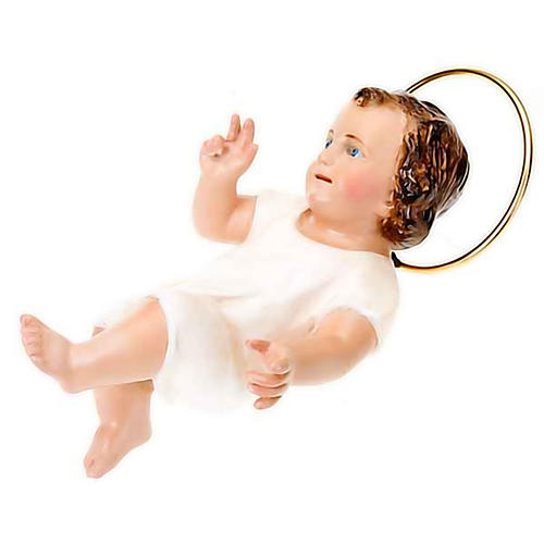 Baby Jesus in wood paste, 15 cm elegant finish 2