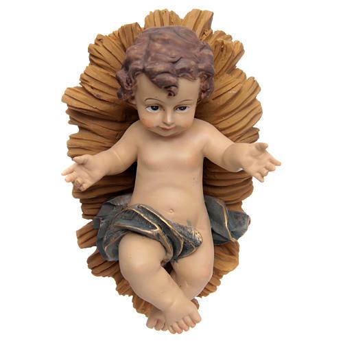 Jésus enfant, résine, berceau 1