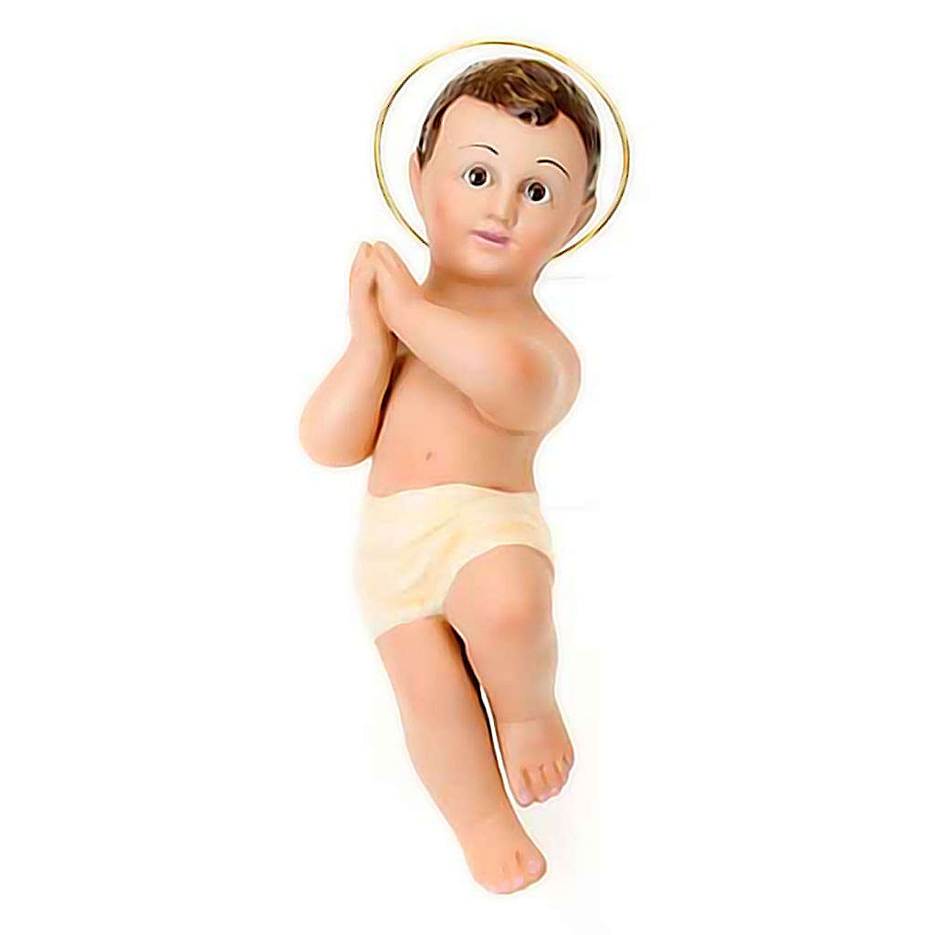 Plaster Baby Jesus with halo, 25 cm 3