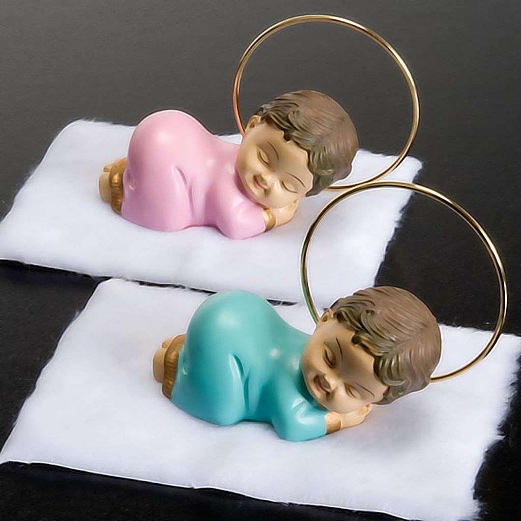 Bambinello con aureola resina 6 cm 3