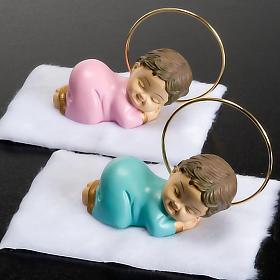 Bambinello con aureola resina 6 cm s2