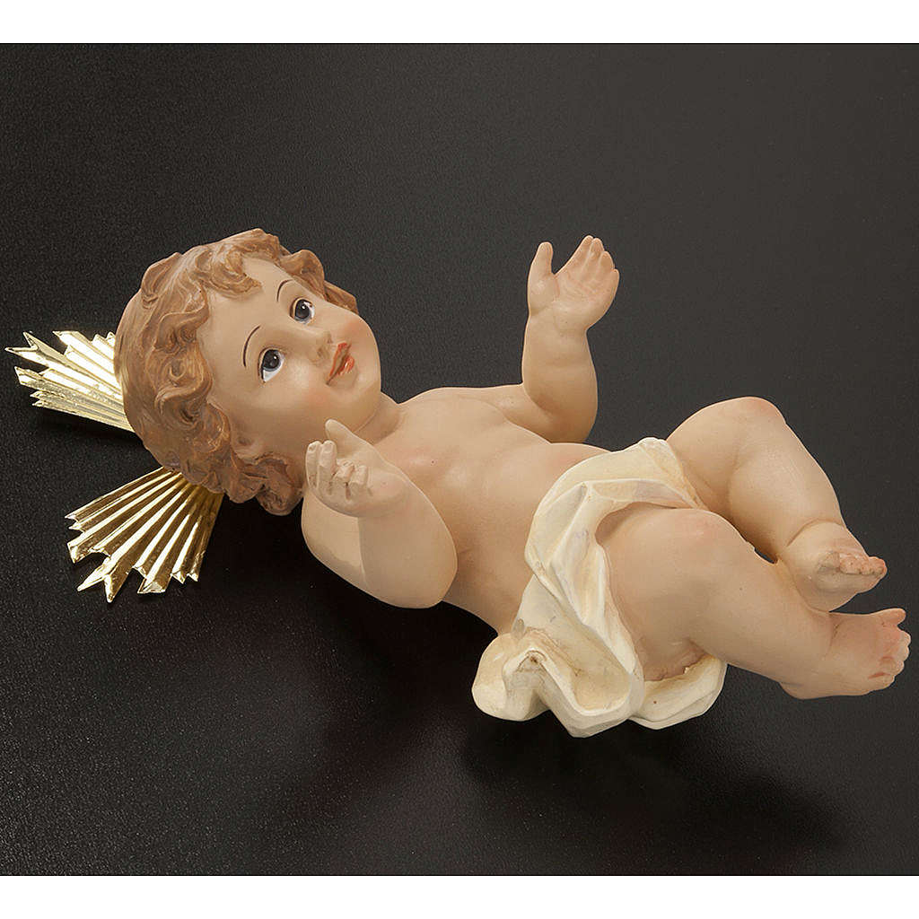 Baby Jesus in resin with halo of rays 18cm 3