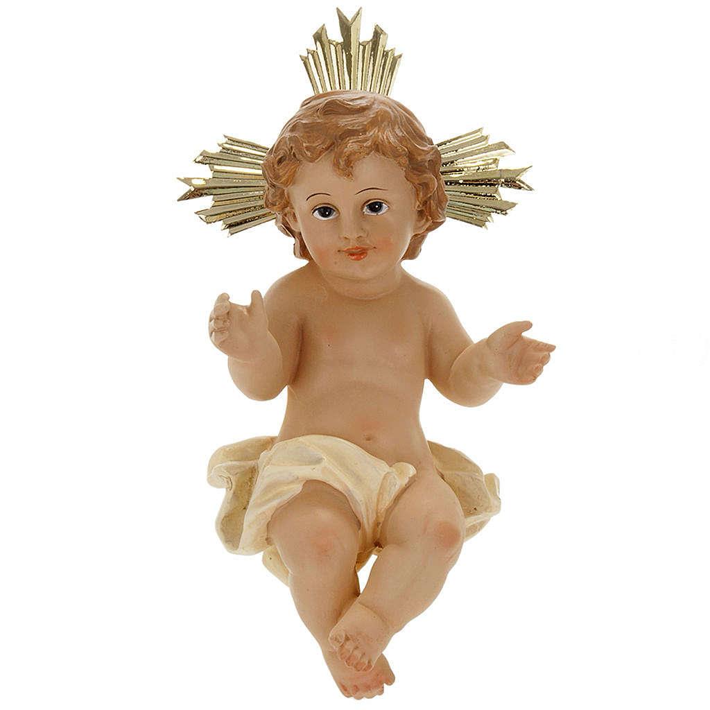Menino Jesus resina com resplendor 18 cm 3