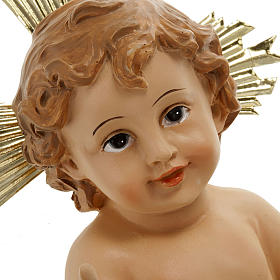 Baby Jesus with halo of rays, in resin 18 cm s2