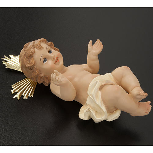 Baby Jesus with halo of rays, in resin 18 cm 3