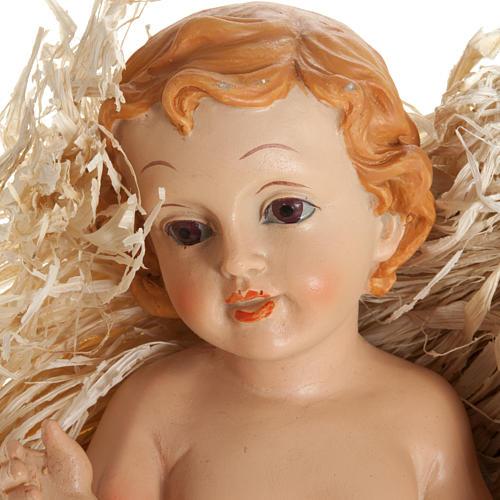 Jesuskind aus Harz mit Stroh, verschiedene Maßen 2