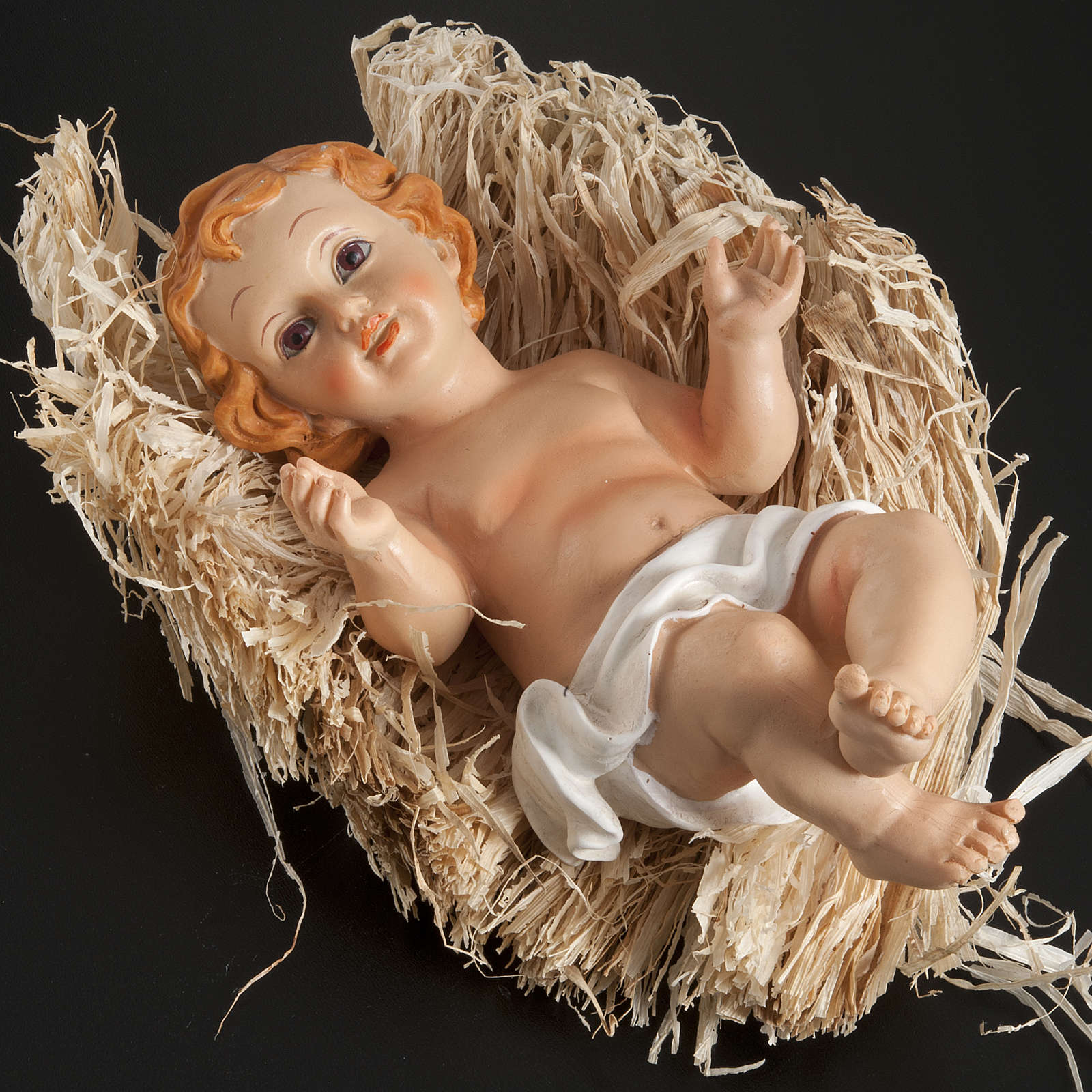 Baby Jesus figurine in pvc laying on straw, various sizes 3