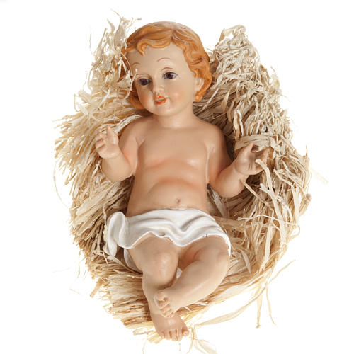 Baby Jesus figurine laying on straw, in pvc various sizes 1