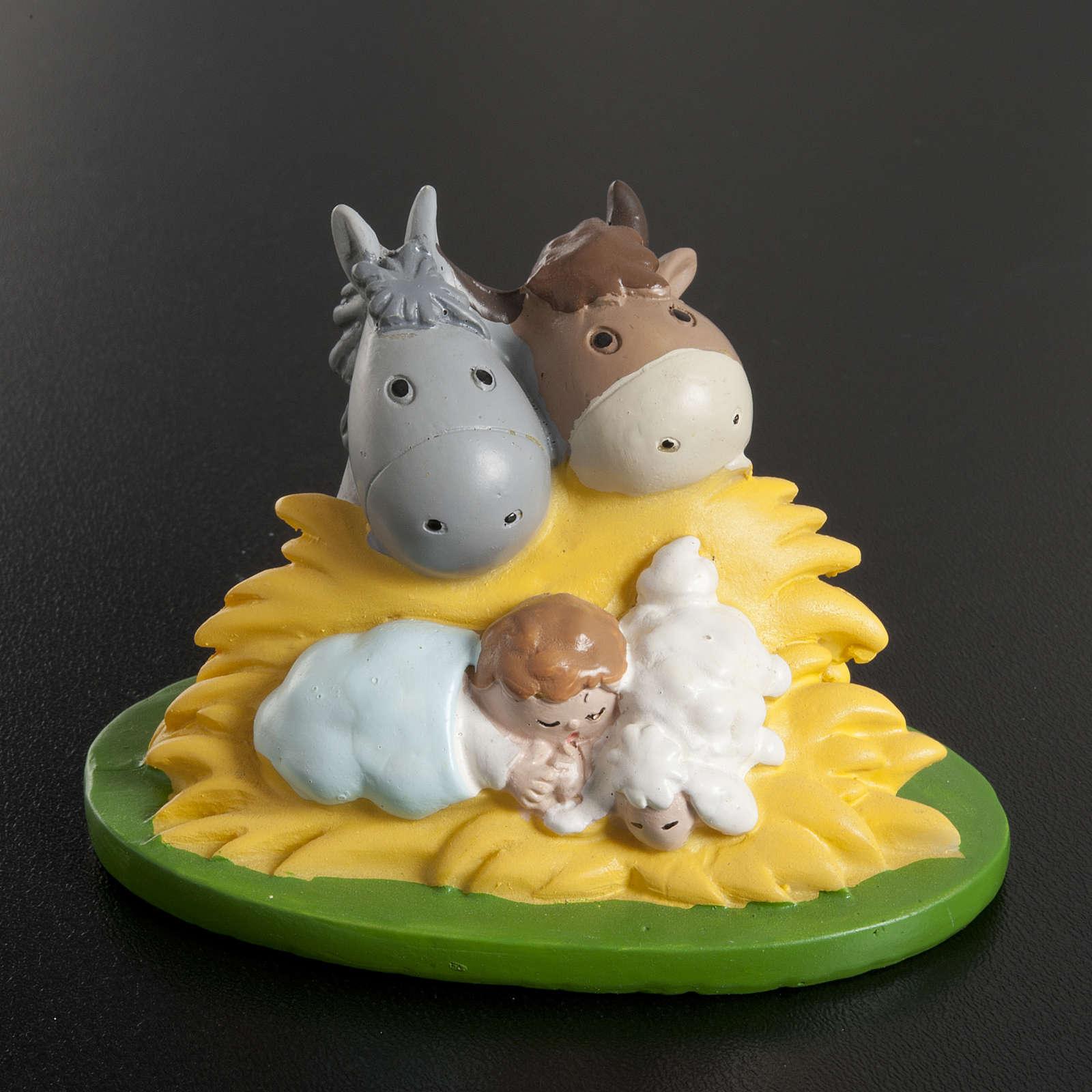 Enfant Jésus résine avec boeuf et âne 7,5x5 3