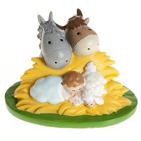 Enfant Jésus résine avec boeuf et âne 7,5x5 s1