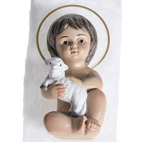 Bambinello gesso con agnello 15 cm s1