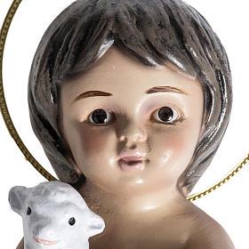 Bambinello gesso con agnello 15 cm s2