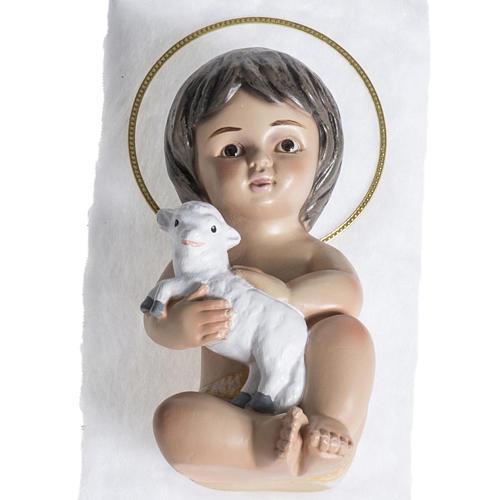 Bambinello gesso con agnello 15 cm 1