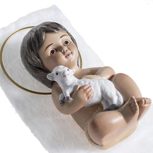 Bambinello gesso con agnello 15 cm 3