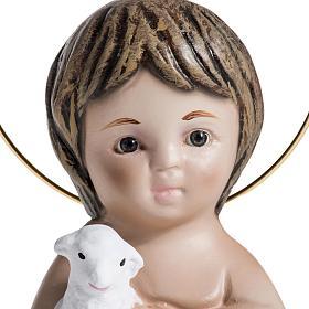 Bambinello gesso con agnello 20 cm s4