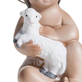 Bambinello gesso con agnello 20 cm s5