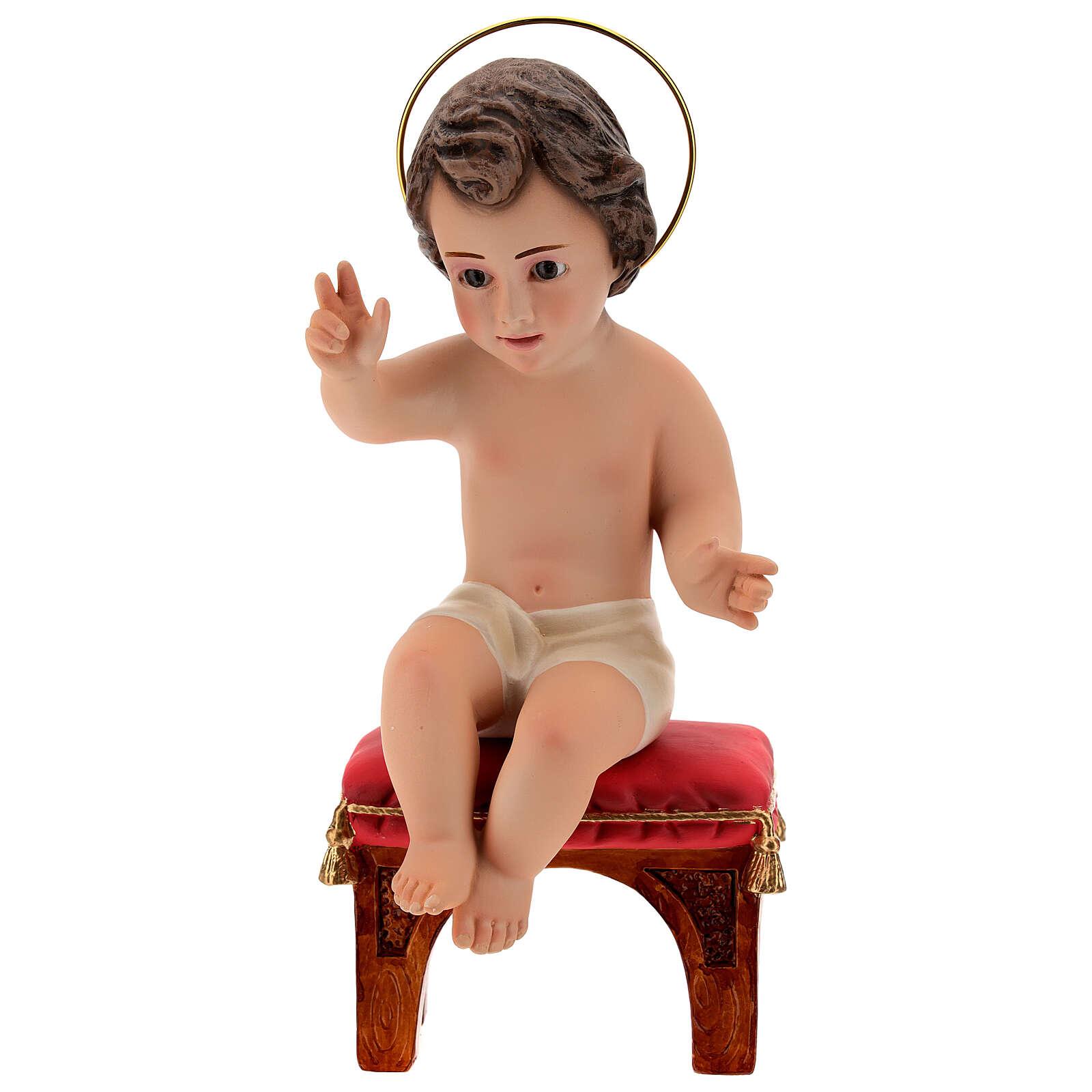 Bambinello seduto gesso 20 cm 3