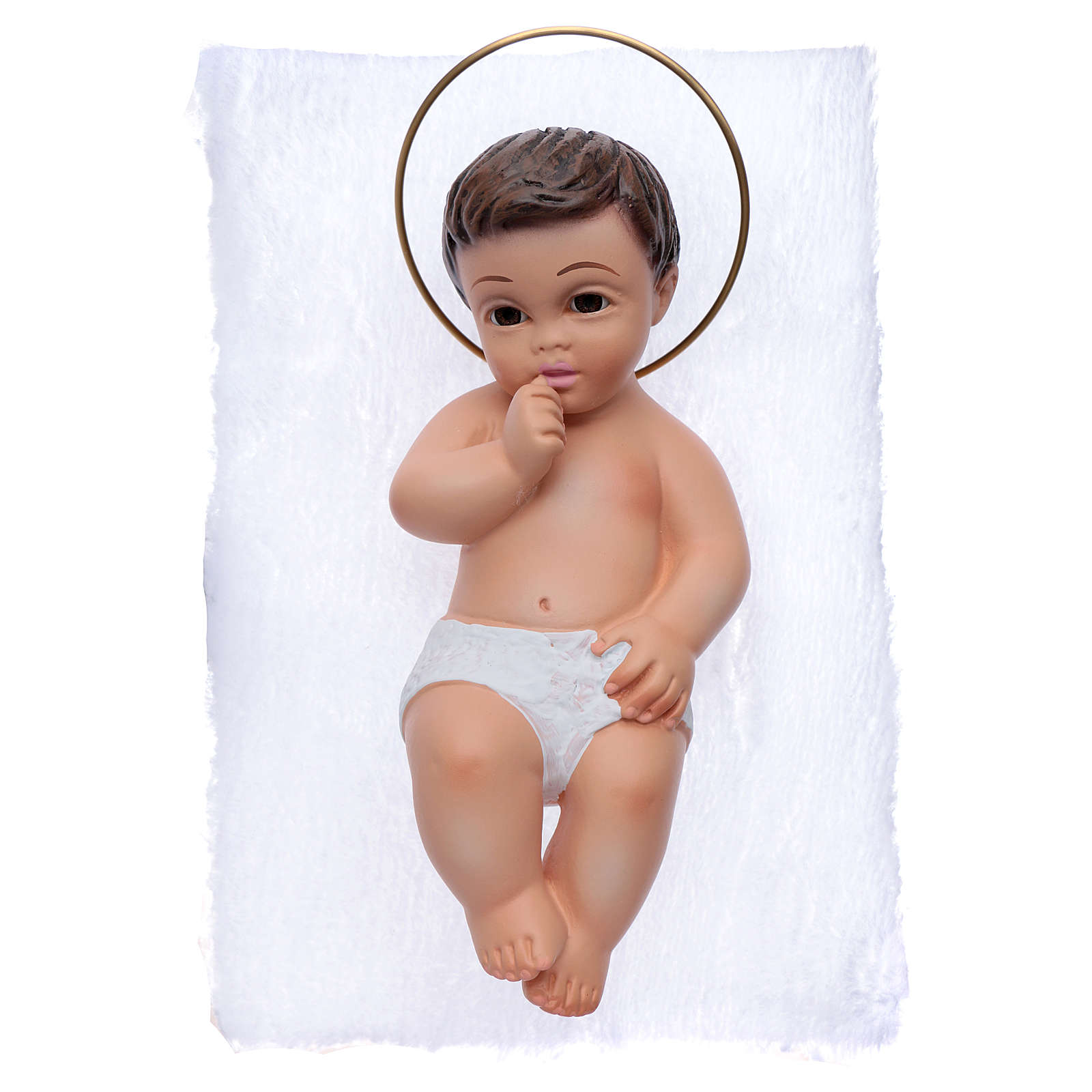 Baby Jesus in plaster with crystal eyes 15cm 3
