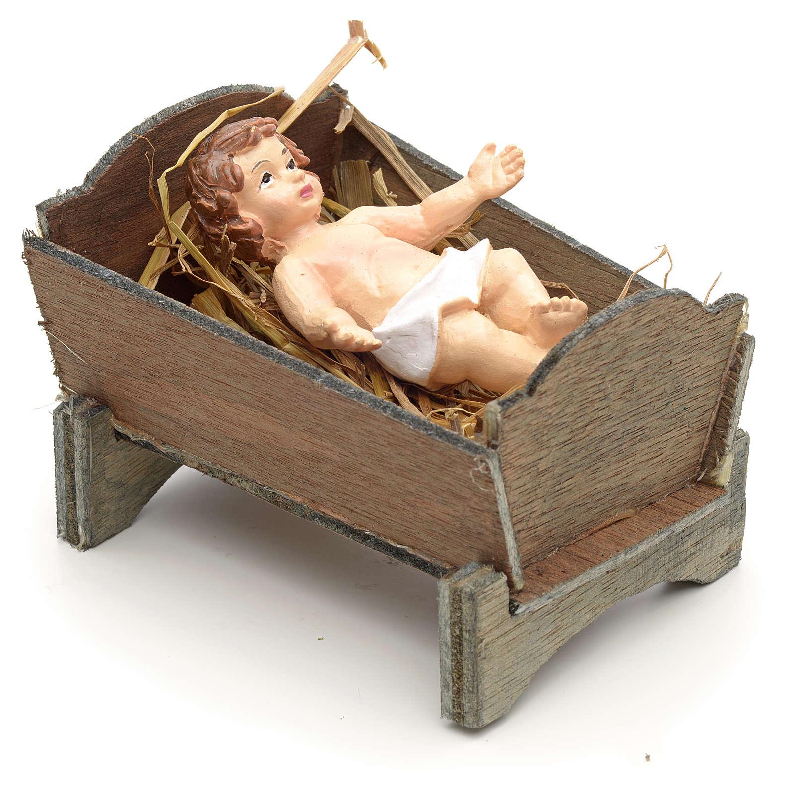 Enfant Jésus et crèche en résine cm 9 3