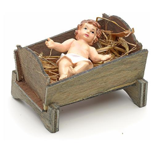 Enfant Jésus et crèche en résine cm 9 2