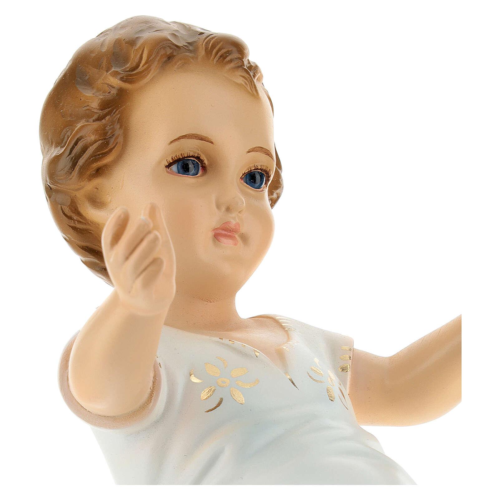 Bambino Gesù cm 27 sdraiato occhi cristallo Landi 3