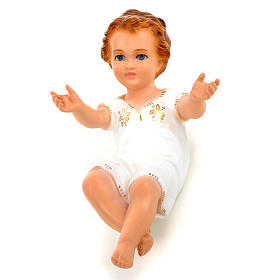 Baby Jesus figurines: Baby Jesus lying with crystal blue eyes, 27 cm Landi
