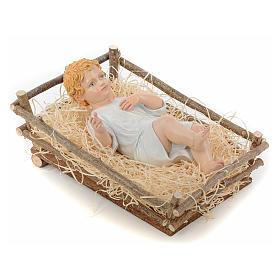 Nativity manger, in wood and straw 27-30 cm Landi s3