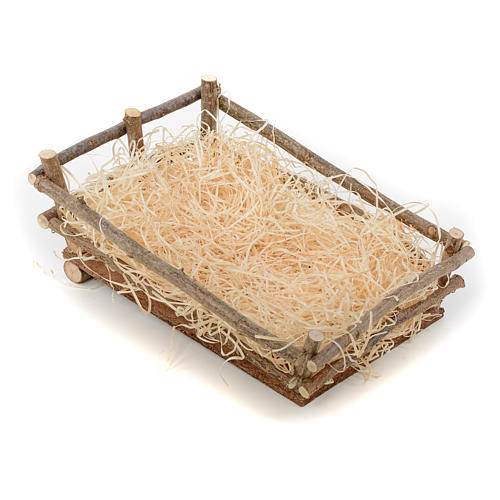 Nativity manger, in wood and straw 27-30 cm Landi 2
