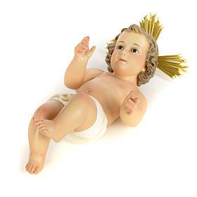 Gesù Bambino 40 cm in pasta di legno dec. fine s5