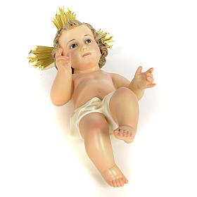 Gesù Bambino 40 cm in pasta di legno dec. fine s8