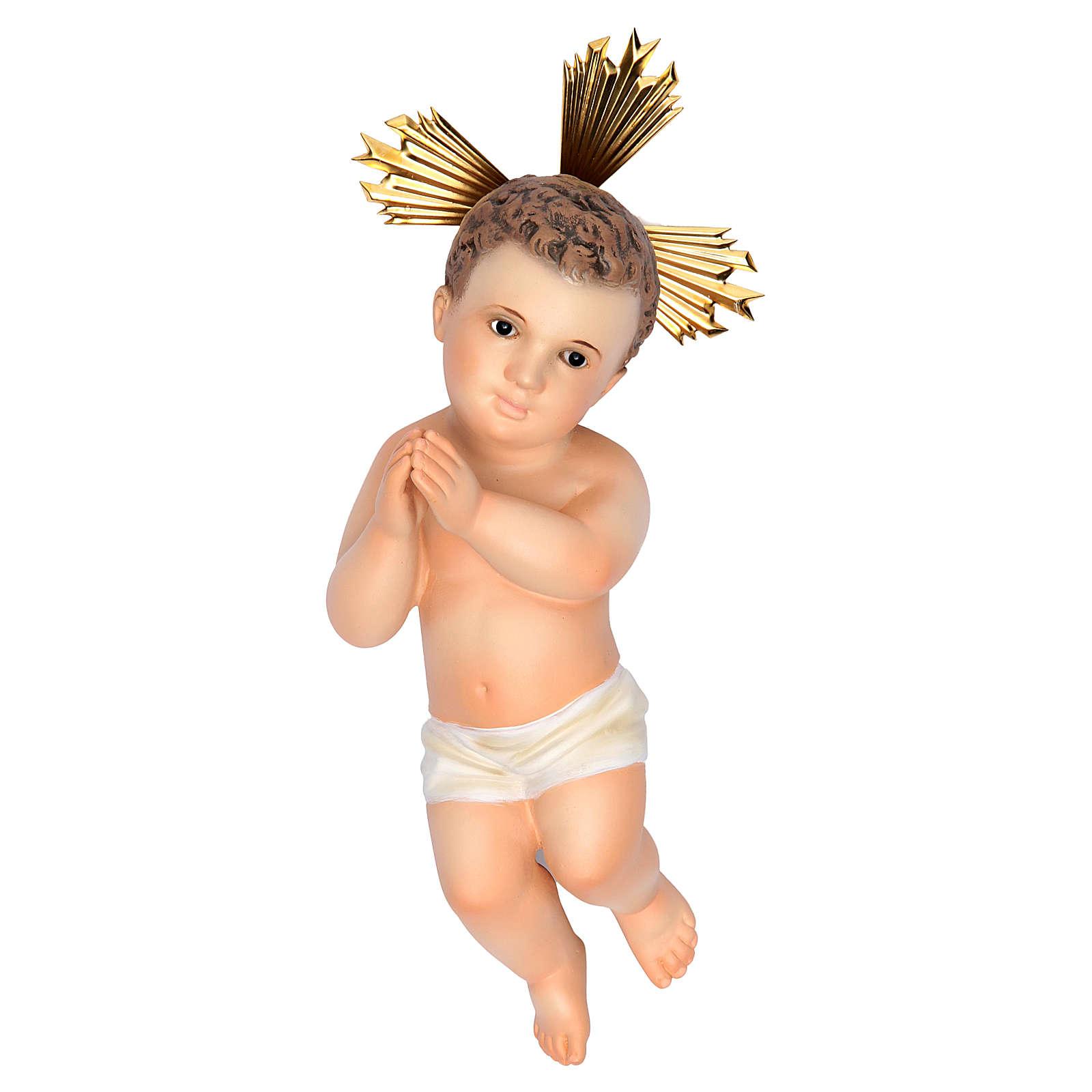 Gesù Bambino 20 cm in pasta di legno dec. fine 3