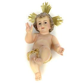Gesù Bambino 20 cm in pasta di legno dec. extra s1